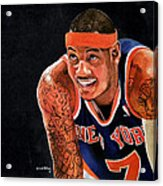 Carmelo Anthony - New York Knicks Acrylic Print by Michael  Pattison