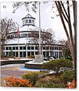 Carousel Building In Snow Acrylic Print by Tom and Pat Cory