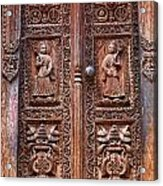 Carved Wooden Door At Bhaktapur In Nepal Acrylic Print by Robert Preston