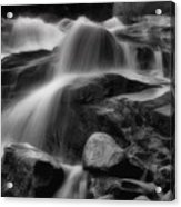 Cascades In Black And White Acrylic Print by Ellen Heaverlo