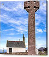 Celtic Cross On The Scottish Coast At North Berwick Acrylic Print by Mark E Tisdale