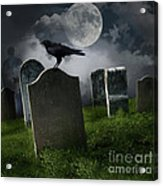 Cemetery With Old Gravestones And Moon Acrylic Print by Sandra Cunningham