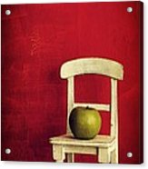 Chair Apple Red Still Life Acrylic Print by Edward Fielding