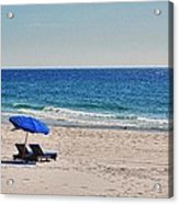 Chairs On The Beach With Umbrella Acrylic Print by Michael Thomas