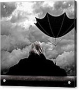 Chance Of Rain   Broken Umbrella Acrylic Print by Bob Orsillo