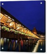 Chapel Bridge At Lucerne In Switzerland Acrylic Print by Jetson Nguyen