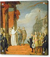 Charles V Leaving The Town Of Dort Acrylic Print by David the Elder Teniers