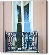 Charleston Pink White Architecture - Charleston Historical District French Quarter Window Balcony Acrylic Print by Kathy Fornal