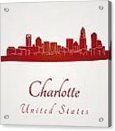 Charlotte Skyline In Red Acrylic Print by Pablo Romero