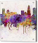 Charlotte Skyline In Watercolor Background Acrylic Print by Pablo Romero