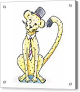 Cheetah In A Top Hat Acrylic Print by Christy Beckwith