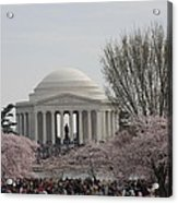 Cherry Blossoms With Jefferson Memorial - Washington Dc - 01132 Acrylic Print by DC Photographer
