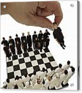 Chess Being Played With Little People Acrylic Print by Darren Greenwood
