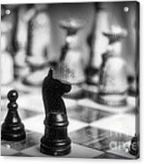 Chess Game In Black And White Acrylic Print by Paul Ward