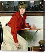 Chica In A Bar Acrylic Print by Ramon Casas i Carbo