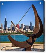 Chicago Adler Planetarium Sundial And Chicago Skyline Acrylic Print by Paul Velgos