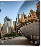 Chicago Bean Cloud Gate Sculpture Reflection Acrylic Print by Paul Velgos