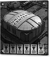 Chicago Bulls Banners In Black And White Acrylic Print by Thomas Woolworth