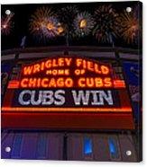 Chicago Cubs Win Fireworks Night Acrylic Print by Steve Gadomski