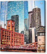 Chicago Downtown At Lasalle Street Bridge Acrylic Print by Paul Velgos