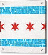 Chicago Flag Neighborhoods Acrylic Print by Mike Maher