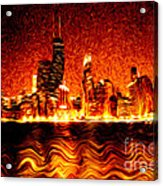 Chicago Hell Digital Painting Acrylic Print by Paul Velgos