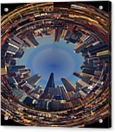 Chicago Looking East Polar View Acrylic Print by Thomas Woolworth