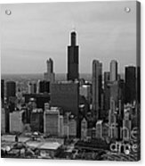 Chicago Looking West 01 Black And White Acrylic Print by Thomas Woolworth