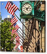 Chicago Macy's Clock And Chicago Theatre Sign Acrylic Print by Paul Velgos