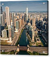 Chicago River Aloft Acrylic Print by Steve Gadomski