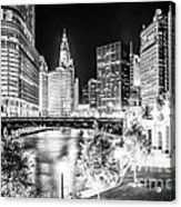 Chicago River Buildings At Night In Black And White Acrylic Print by Paul Velgos