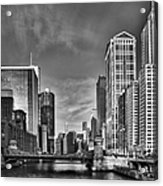 Chicago River In Black And White Acrylic Print by Sebastian Musial