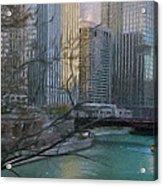 Chicago River Sunset Acrylic Print by Jeff Kolker