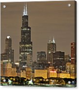 Chicago Skyline At Night Acrylic Print by Sebastian Musial