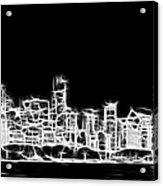 Chicago Skyline Fractal Black And White Acrylic Print by Adam Romanowicz