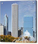 Chicago Skyline From Millenium Park Iv Acrylic Print by Christine Till