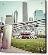 Chicago Skyline With Pritzker Pavilion Vintage Picture Acrylic Print by Paul Velgos