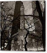 Chicago Water Tower B W Acrylic Print by Steve Gadomski