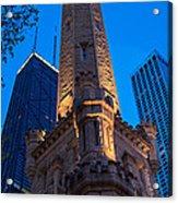 Chicago Water Tower Panorama Acrylic Print by Steve Gadomski