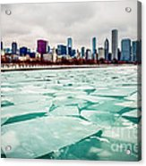 Chicago Winter Skyline Acrylic Print by Paul Velgos
