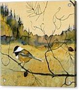 Chickadee In Dancing Pine Acrylic Print by Carolyn Doe