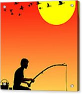 Childhood Dreams 3 Fishing Acrylic Print by John Edwards