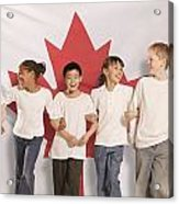 Children In Front Of Canadian Flag Acrylic Print by Don Hammond