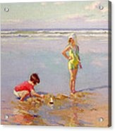 Children On The Beach Acrylic Print by Charles-Garabed Atamian