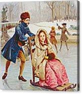 Children Skating Acrylic Print by Maurice Leloir