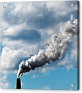 Chimney Exhaust Waste Amount Of Co2 Into The Atmosphere Acrylic Print by Ulrich Schade