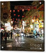 China Town At Night Acrylic Print by Linda Woods