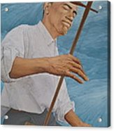 Chinese Citicen Barack Obama Is Playing Erhu A Chinese Two Stringed Musical Instrument Acrylic Print by Tu Guohong