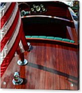 Chris Craft With Flag And Steering Wheel Acrylic Print by Michelle Calkins