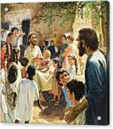 Christ With Children Acrylic Print by Peter Seabright